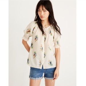 Madewell Smocked Button Down Top Classic Corsage